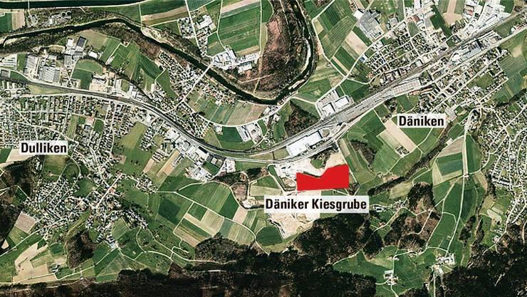Die nicht überbaute Zone zwischen den beiden Dörfern würde gestört: Die Anlagen kämen in der Kiesgrube zwischen Däniken und Dulliken zu liegen. Google Maps