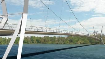 Eine knappe Mehrheit sagte an der Gemeindeversammlung Ja zum Zusatzkredit für den Rheinsteg – doch nun folgt ein Referendum. Visualisierung: Render-Manufaktur