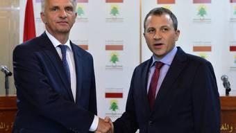 Die Aussenminister der Schweiz und des Libanons, Didier Burkhalter (links) und  Gebran Bassil, bei ihrem Treffen in Beirut.