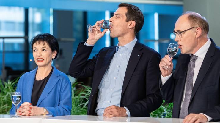 Die Kandidaten Marianne Binder-Keller, Thierry Burkart und Hansjörg Knecht.