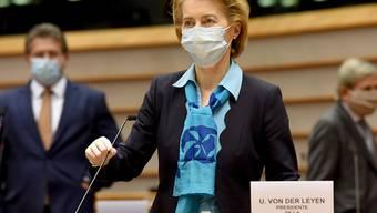 ARCHIV - EU-Kommissionspräsidentin Ursula von der Leyen im Europaparlament. Foto: Etienne Ansotte/European Commission/dpa - ACHTUNG: Nur zur redaktionellen Verwendung und nur mit vollständiger Nennung des vorstehenden Credits