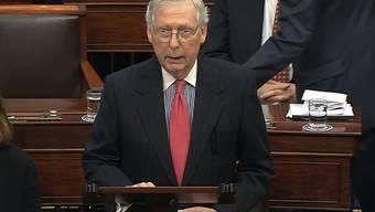 Der republikanische Mehrheitsführer im US-Senat, Mitch McConnell, sieht derzeit keine Chance, den Demokraten das Recht auf Zeugenvorladung zu verweigern. (Archivbild)