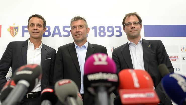 Das Trio um Bernhard Heusler, Urs Fischer und Georg Heitz (v. l.) wird den FCB sehr wahrscheinlich im Sommer verlassen.