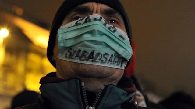 Ein Ungare protestiert gegen das neue Mediengesetz (Archiv)