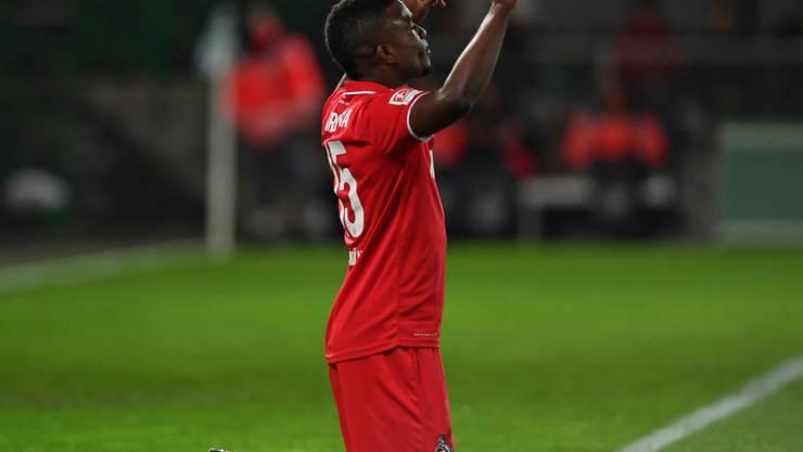 Köln-Stürmer Jhon Cordoba feiert seinen dritten Treffer in Fürth