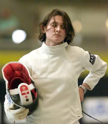 Enttäuschte Gianna Hablützel-Bürki, nach der Viertelfinalniederlage gegen Isabella Tarchini,2001, Zürich.