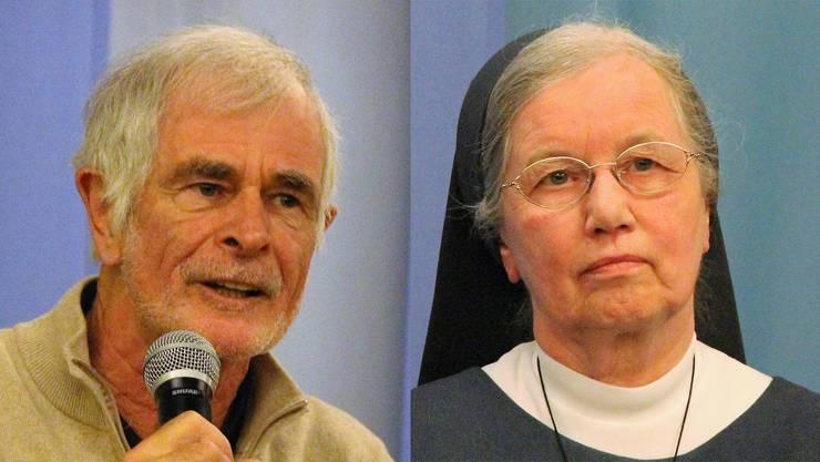 Journalist und Buchautor Hugo Stamm und Schwester Zita Estermann während der Podiumsdiskussion unter dem Titel «Macht und Ohnmacht des Gebets?!»