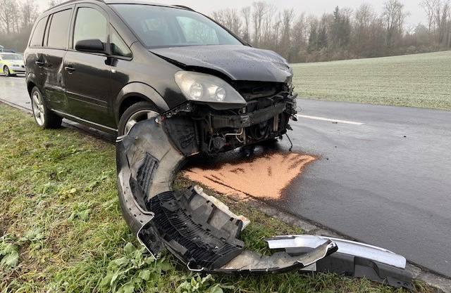 Der Opel geriet ins Schleudern ...
