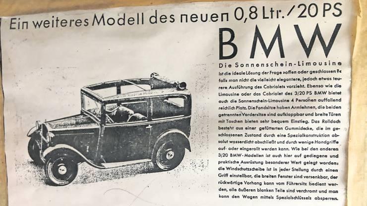 So wurde der Wagen damals beworben. Er war mit festem Dach, aber auch mit grossem Sonnendach zu haben.
