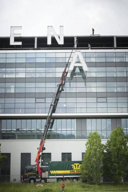 Die letzten Buchstaben der AFG-Arena (© Tagblatt/Ralph Ribi)