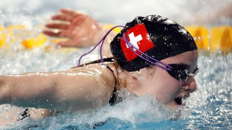 Carla Stampfli unterwegs im Vorlauf über 50m Delfin an den Europameisterschaften im Schwimmen in Eindhoven am 18. März 2008.