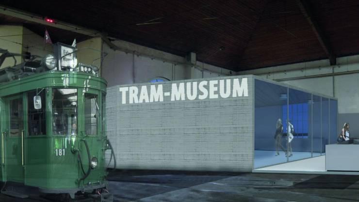 Visualisierung: Für das Museum soll die nördliche Depothälfte verwendet werden. Die Oldtimer sollen zugänglich sein, wenn tagsüber die anderen Trams die Halle verlassen.