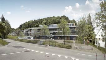 Aussenansicht von der Schupfarter Strasse: Wettbewerbsprojekt für eine Überbauung des Areals Mühle/Mühlegarten in Eiken. – Foto: pd