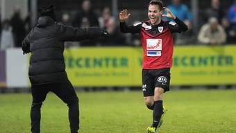 Patrick Rossini trifft für den FC Aarau.