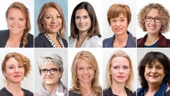 Die Spitzenkandidatinnen der Parteien. Oben (von links): Stefanie Heimgartner (SVP), Yvonne Feri (SP), Maja Riniker (FDP), Ruth Humbel      (CVP), Barbara Portmann (GLP). Unten (von links): Irène Kälin (Grüne), Maya Bally (BDP), Nicole Müller-Boder (SVP), Lilian Studer (EVP), Claudia Bandixen (Team65+).