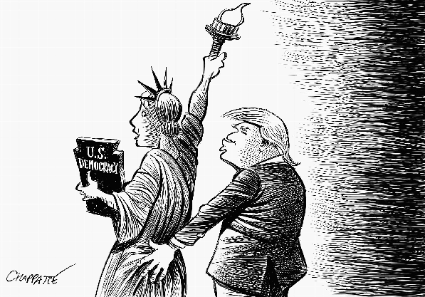 Chappatte spielt auf Trumps geleakte Aussage an: «And when you're a star, they let you do it. You can do anything. ... Grab them by the pussy.»