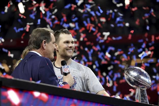 Tom Brady beim Interview nach dem sechsten Super Bowl Gewinn.