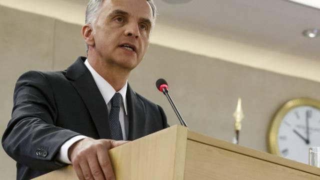Bundespräsident Burkhalter vor dem Menschenrechtsrat in Genf
