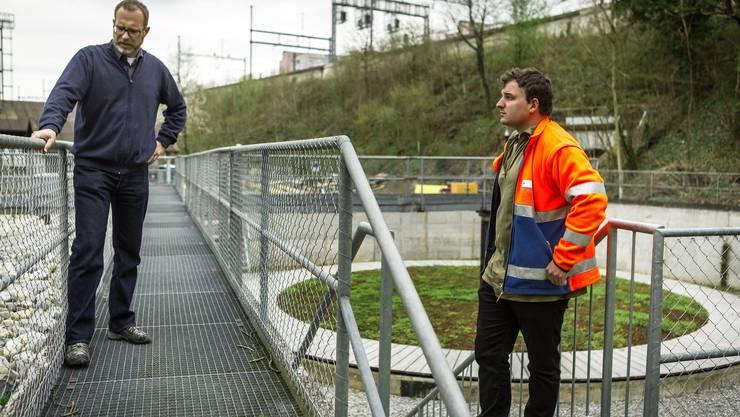 Christian Brenner, Leiter Abteilung Tiefbau im Stadtbauamt, und Thomas Kieser, Park-Betreuer beim Werkhof.