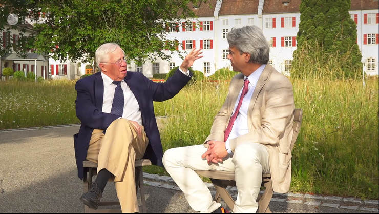 Christoph Blocher in der neusten Folge seines Vlogs «Teleblocher» mit Interviewer Matthias Ackeret