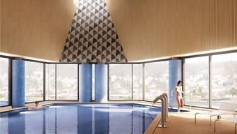 So soll das Botta-Bad im Inneren aussehen – mit Aussicht auf die Goldwand. HO