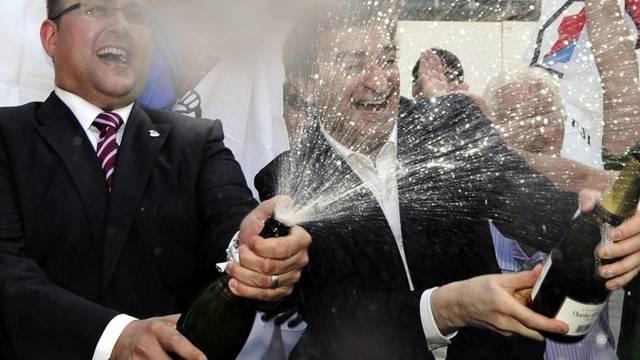 Die beiden Regierungsräte der Lega dei Ticines, der neu gewählte Norman Gobbi (links) und der bestätigte Marco Borradori