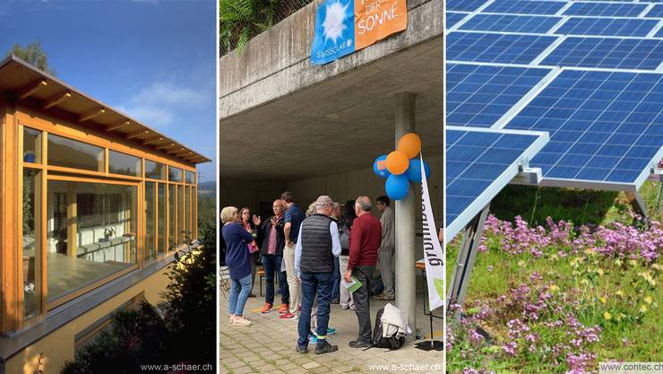 v.l.: Solares Bauen. GLP Tag der Sonne 2019. Photovoltaik schliesst artenreiche Begrünung nicht aus.