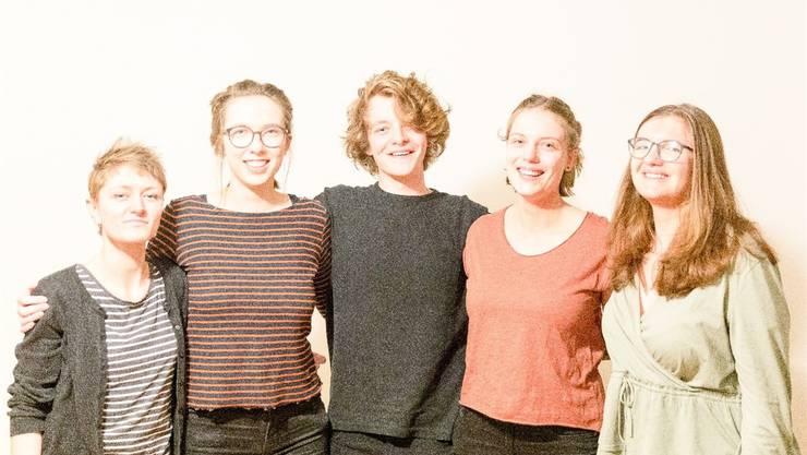 Nominiert v.l.: Moira Walter, Lara Frey, Lars Ritter, Kassandra Frey, Aileen Jenni (es fehlt: Simon Michel).