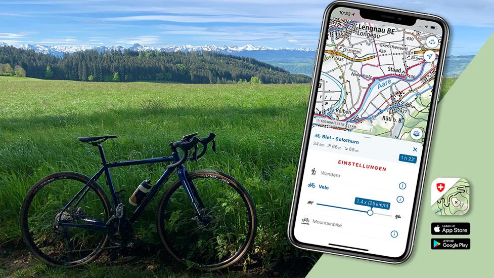 Velorouten planen mit der Swisstopo-App