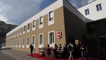 Schweizer Botschaft in Moskau von aussen, aufgenommen während der Eröffnungszeremonie im Juni 2019.