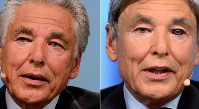 Nestlé-Präsident Peter Brabeck an der GV 2013 (links) und an der Nestlé-GV 2014.