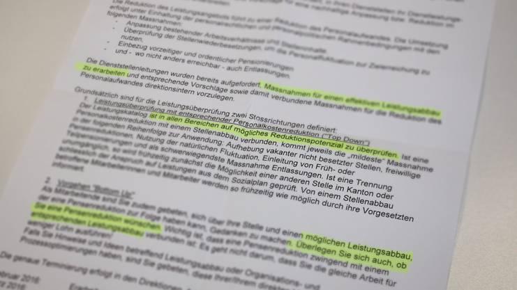 Das Schreiben, das in der Baselbieter Verwaltung für Aufregung sorgt.