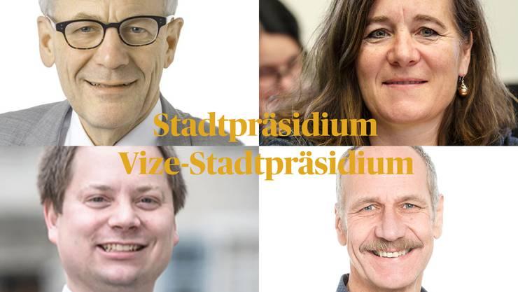 Die Kandidaten: Kurt Fluri und Franziska Roth wollen das Stadtpräsidium, Pascal Walter und Heinz Flück wollen das Amt des Vize.