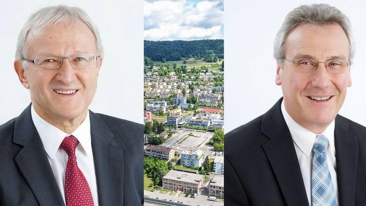 Mit Hochbauvorsteher Willy Oswald (links) und Finanzvorsteher Beat Schmid (rechts) treten 2018 zwei Geroldswiler Gemeinderäte ab. In der Bildmitte das Geroldswiler Zentrum.