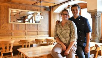 Stefanie Stalder und Abdul Hloul in der Gaststube des «Lamms» in Härkingen.