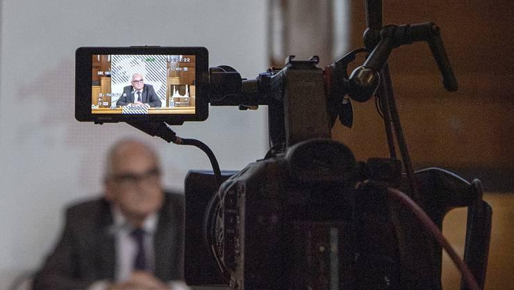 Der Berner Regierungspräsident Pierre Alain Schnegg bei der Präsentation der verschärften Coronamassnahmen am 23. Oktober.