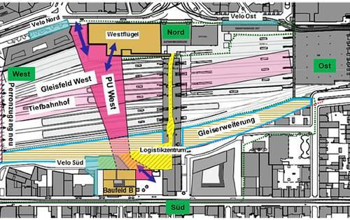Die Personenunterführung West mündet nördlich vom Bahnhof SBB im Westflügel oder führt am Elsässer Tor vorbei Richtung Markthalle.