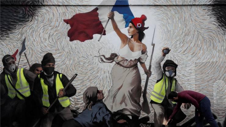 Gelbwesten mit einem Touch Eugène Delacroix und seinem berühmten Gemälde «Die Freiheit führt das Volk».