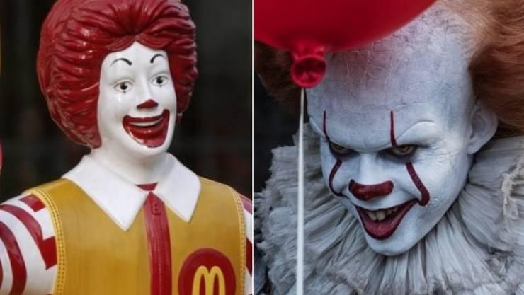 """Rechts der Mörderclown aus dem Horrorfilm """"It"""", links das Maskottchen von McDonald. Weil die beiden sich angeblich zu ähnlich sehen, will der Russland-Ableger Burger King den Film """"It"""" verbieten lassen. (Archivbilder)"""