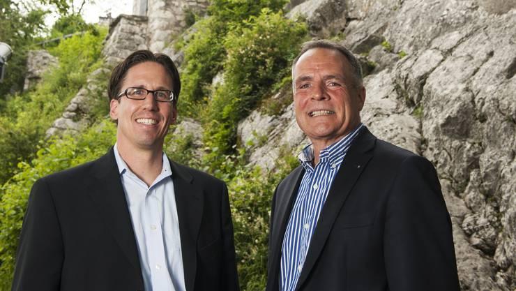 Adi Hirzel, Präsident Badenfahrt-Komitee, und sein Vorgänger Marc Périllard – am Stadtfest 2012 noch als Co-Präsidenten.