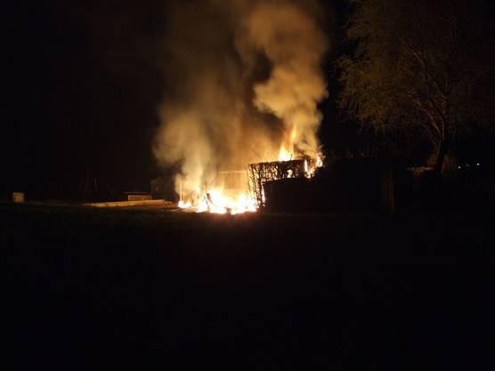 Das Feuer zerstörte das Gartenhaus vollständig.