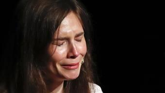 In einer emotionalen Rede an einem Kongress zu Justizirrtümern im italienischen Modena hat Amanda Knox ihre Version des Mordes an einer britischen Austauschstudentin vor zwölf Jahren verteidigt. (AP Photo/Antonio Calanni)