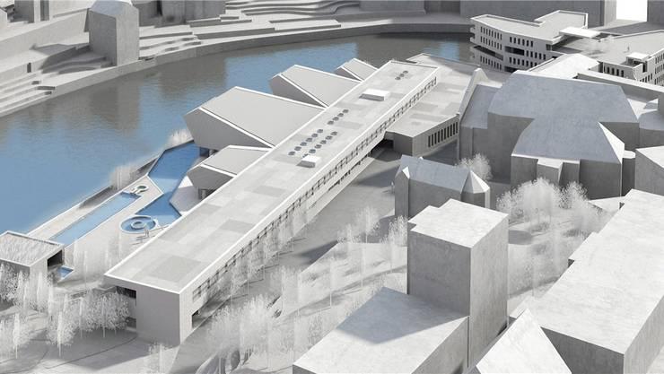 Visualisierung des Botta-Projekts: Neues Thermalbad (vorne links) mit Verenahof-Geviert (rechts in der Mitte) und Wohn-/Ärztehaus (rechts ganz oben). zvg