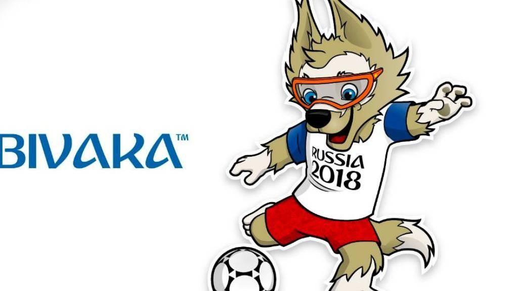 Sabiwaka heisst der Wolf, der Russland bei der Fussball-WM 2018 als Maskottchen dient. (Bild Twitter)
