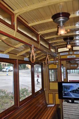 Das Innere der historischen Strassenbahn «Lisbethli»
