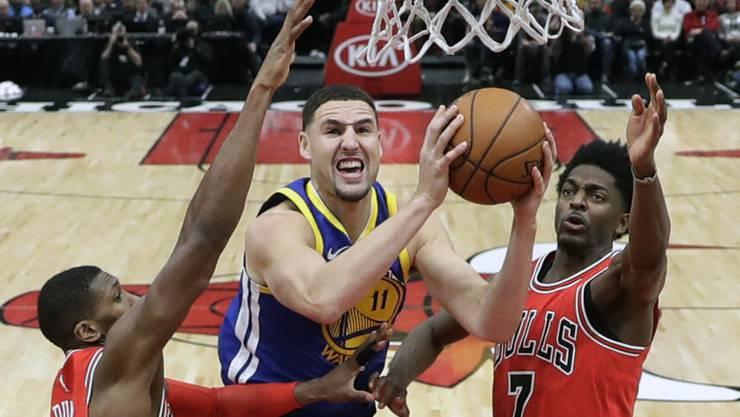 Klay Thompson ist von den Chicago Bulls trotz Teamwork nicht zu stoppen