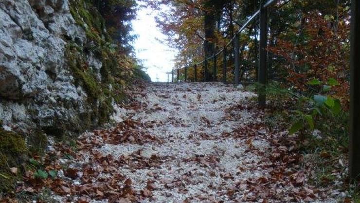 Keine Treppenabstufungen mehr beim Wanderweg Horngraben.