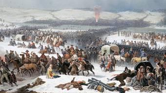 January Suchodolski malte den Übergang. Eine der Brücken ist gerade kaputt, Kavalleristen queren den eiskalten Fluss. Nationalmuseum Poznan