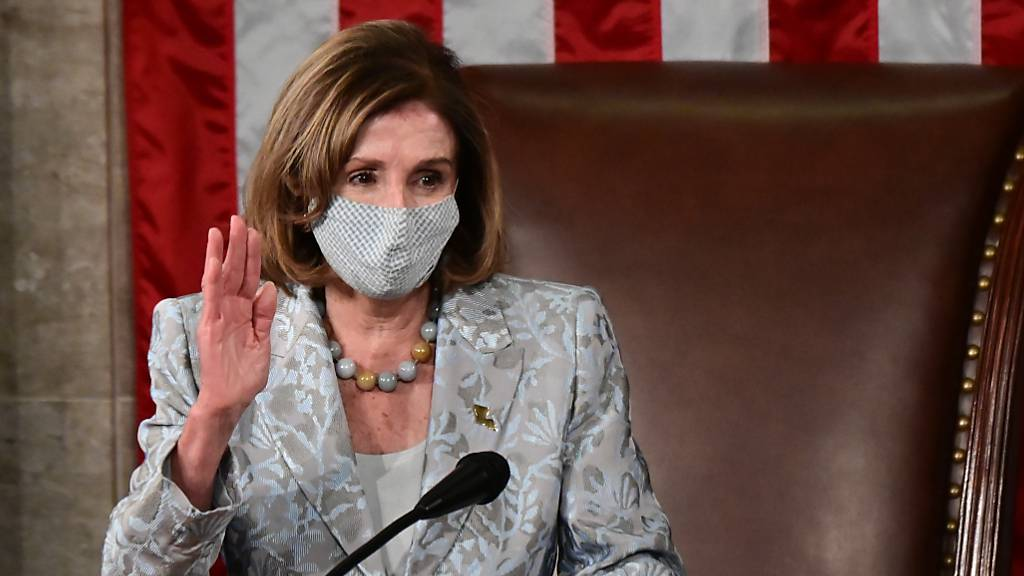 Nancy Pelosi, Sprecherin des Repräsentantenhauses der USA, am Eröffnungstag des neuen US-Kongresses. Foto: Erin Scott/Pool Reuters/AP/dpa