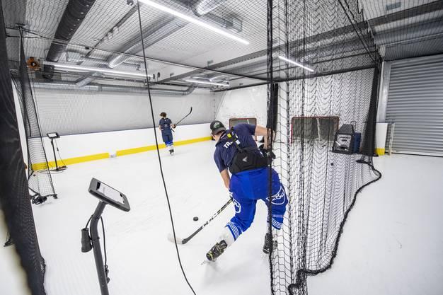 Die Schussanlage mit Kunststoffeis in der Eishockey-Trainingshalle.